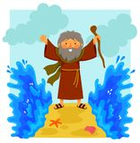 Cartoon Moses parting the red sea Stock Photography