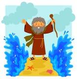 Cartoon Moses parting the red sea. Cartoon illustration of happy Moses parting the red sea in the biblical story Stock Photography