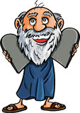 Cartoon Moses with the Ten Commandments Stock Image