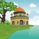 Cartoon mosque on the hill Royalty Free Stock Images