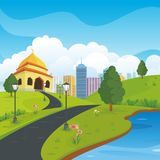 Cartoon mosque with nature and city landscape. Background, cute, simple and suitable for children book cover, flyer and other element design royalty free illustration
