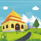 Cartoon mosque with nature and city landscape Stock Photography