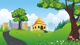 Cartoon mosque with nature and city landscape vector illustration