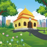 Cartoon mosque with nature and city landscape. Background, cute, simple and suitable for children book cover, flyer and other element design vector illustration