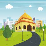 Cartoon mosque with nature and city landscape Stock Photo
