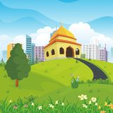 Cartoon mosque with nature and city landscape Stock Image