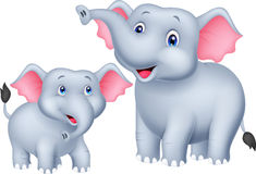 Cartoon Mother And Baby Elephant Stock Images