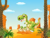Cartoon Mother and baby dinosaur hatching with the desert background Stock Photos