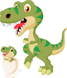 Cartoon Mother and baby dinosaur hatching Stock Photo