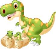 Cartoon Mother and baby dinosaur hatching Stock Photos