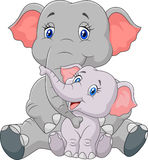 Cartoon mother and baby elephant sitting isolated on white background Stock Photo