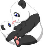 Cartoon Mother and baby panda Stock Photos