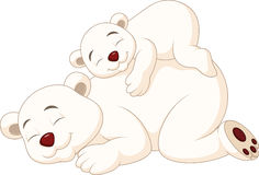 Cartoon mother and baby polar bear sleeping vector illustration