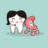 Cartoon mother and baby tooth Royalty Free Stock Photo