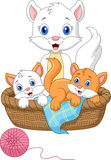 Cartoon Mother Cat Playing With Baby Cat Stock Photos