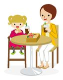 Cartoon Mother and Daughter have a lunch with a cafe table Royalty Free Stock Photography