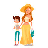 Cartoon mother and daughter Royalty Free Stock Image