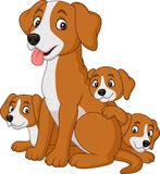 Cartoon mother dog with her cute puppies vector illustration