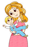 Cartoon mother with litle boy. Vector sketches illustration Isolated on white Stock Photos