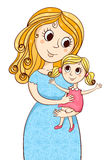 Cartoon mother with litle girl Royalty Free Stock Photography