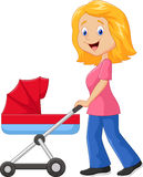 Cartoon a mother pushing a baby stroller Stock Images