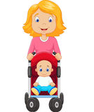 Cartoon a mother pushing a baby stroller Stock Photography