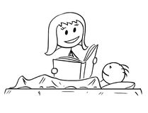 Cartoon of Mother Reading Bedtime Story or Book to Son. Cartoon stick man drawing conceptual illustration of mother or mom reading his son bedtime story from a Stock Images