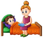 Cartoon mother reading bedtime story to her son before sleeping vector illustration