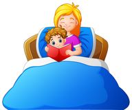 Cartoon mother reading bedtime story to son on bed vector illustration