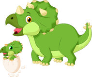 Cartoon Mother triceratops with baby hatching Royalty Free Stock Photos