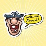 Cartoon motivation sticker - welcome aboard. Vector illustration of cartoon motivation sticker - welcome aboard royalty free illustration