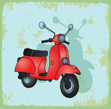 Cartoon moto illustration, vector icon. Royalty Free Stock Photo