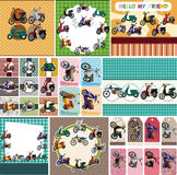 Cartoon motorcycle card Stock Photography