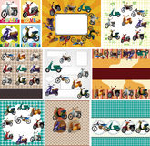 Cartoon motorcycle card Royalty Free Stock Photo