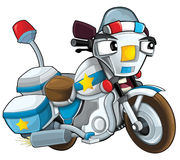 Cartoon motorcycle - caricature - illustration for the children Stock Photo