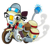 Cartoon motorcycle - caricature - medical vehicle Royalty Free Stock Images