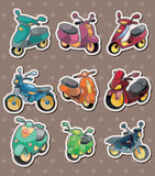 Cartoon motorcycle stickers Stock Photography