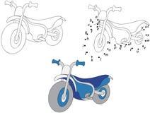 Cartoon motorcycle. Vector illustration. Coloring and dot to dot Royalty Free Stock Image