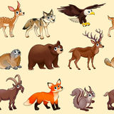 Cartoon mountain animals pattern Stock Photo