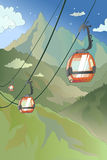 Cartoon Mountain Cableway Stock Image