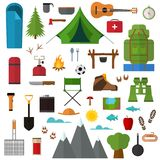 Cartoon Mountain Hike Elements Set. Vector. Cartoon Mountain Hike Elements Set Tourism Concept Flat Design Style. Vector illustration of Symbol Travel and Royalty Free Stock Photography