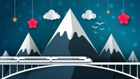 Cartoon mountain landscape. Travel, illustration. Stock Images