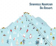 Cartoon Mountain Ski Resort Seamless Border Royalty Free Stock Photo