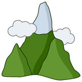 Cartoon Mountain with Snow & Clouds Icon Stock Photo