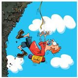 Cartoon Mountaineer falling of a mountain Royalty Free Stock Photography