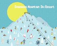 Cartoon Mountains Skyline Ski Resort Seamless Stock Images