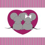 Cartoon mouse. Cute little mouses in hearts Stock Photo