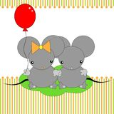 Cartoon mouse. Cute little mouses with ball Stock Photos