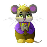 cartoon mouse with an apple in his paws. Color, vector illustration, hand drawing Royalty Free Stock Photos