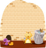 Cartoon mouse and cat eating vector illustration